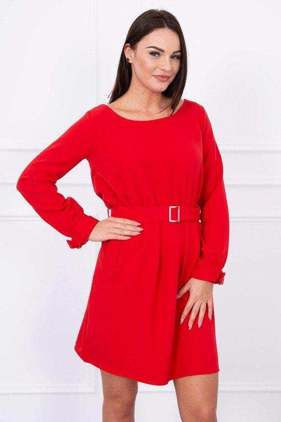 Šaty spojené v páse s vreckami červená 12e80f38169