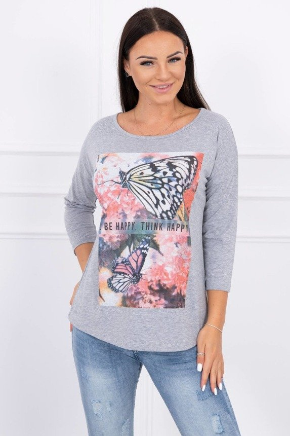 A blouse, butterflies, light gray
