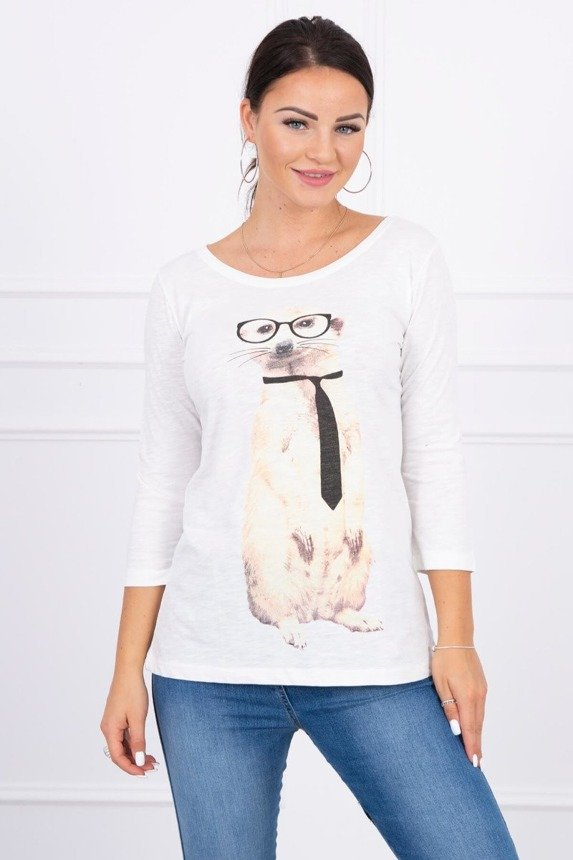 A blouse with a meerkat wearing a tie, ecru