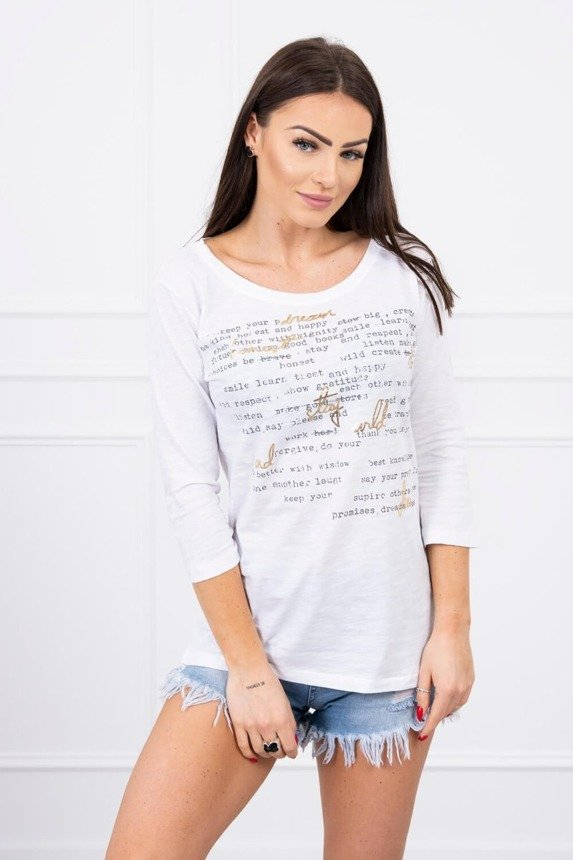 A blouse with subtitles, white
