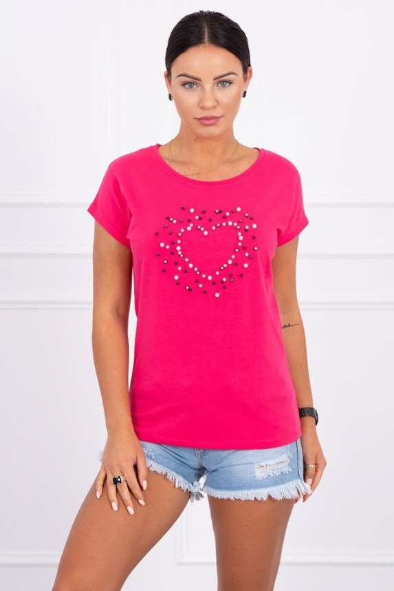 Blouse Heart from pearls fuchsia
