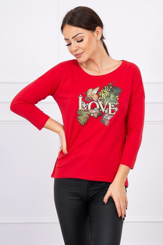 Blouse with Love print red