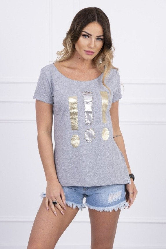 Blouse with exclamation mark gray