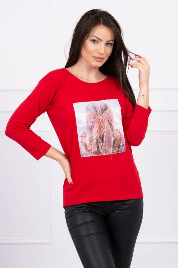 Blouse with graphics 3D, ribbon red