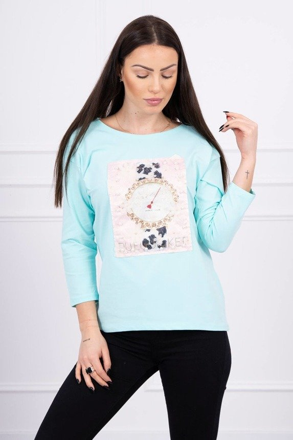 Blouse with graphics 3D with pearls mint