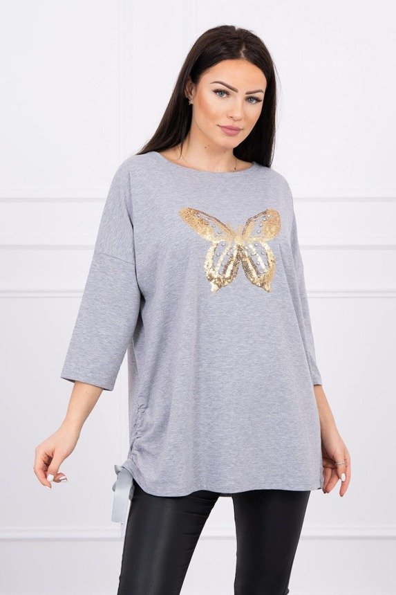 Blouse with graphics butterfly Plus Size gray