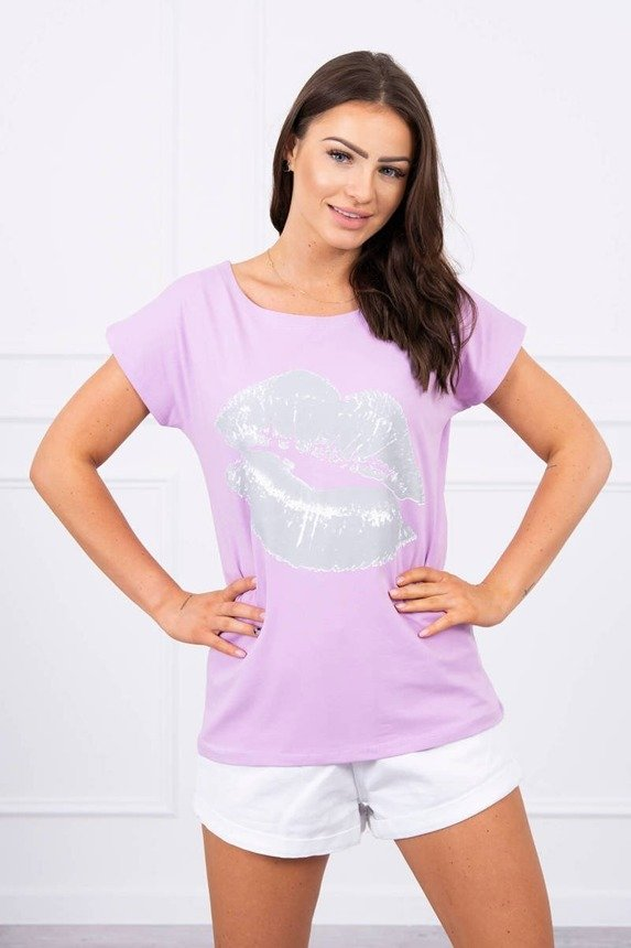 Blouse with lips print purple