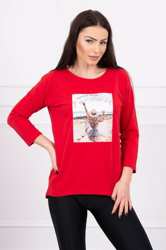 Blouse with print Paradise red