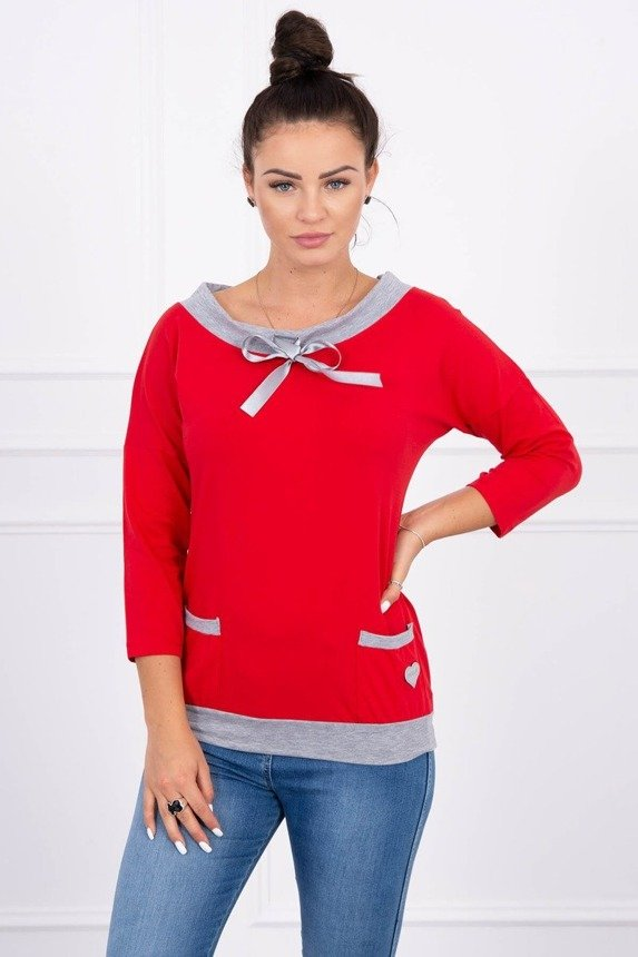 Blouse with sewn pockets red