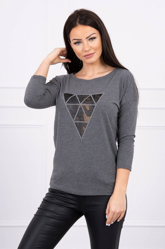 Blouse with triangle print graphite S/M - L/XL