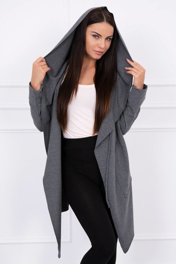 Cape with a loose hood graphite melange