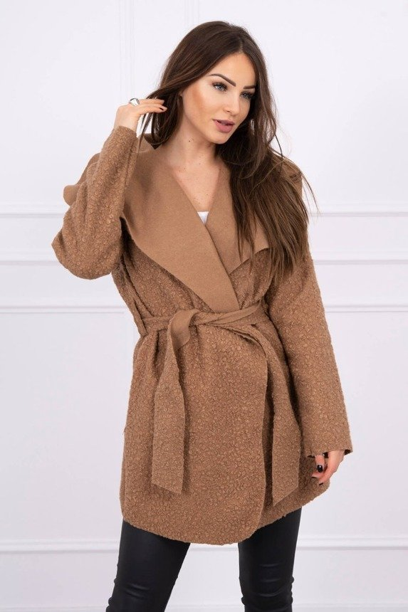 Cardigan tied waterfall Oversize camel