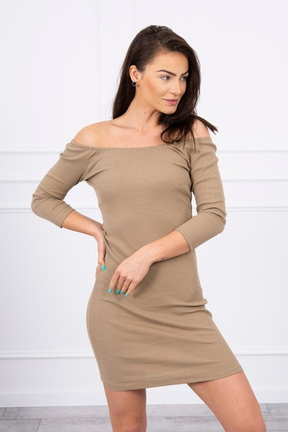 Dress fitted - ribbed camel