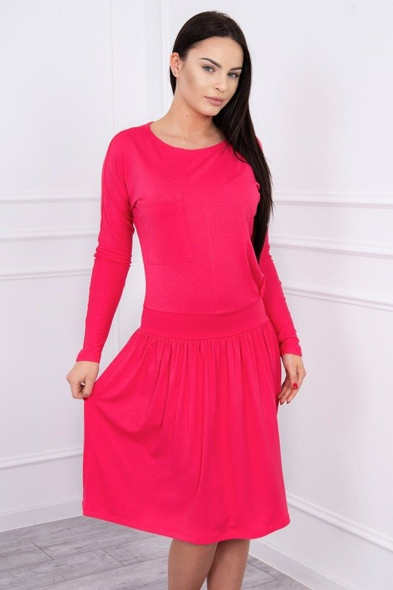 Dress with a flared bottom and pocket fuchsia