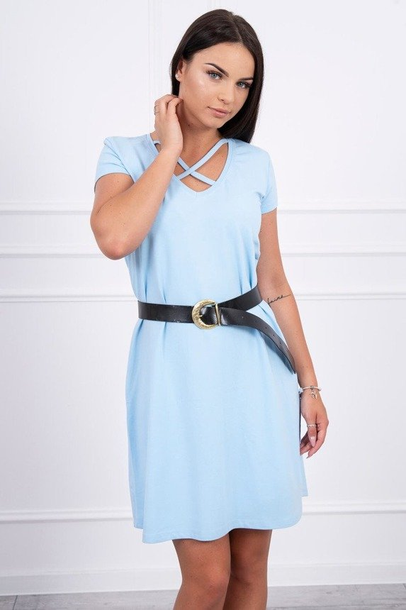 Dress with belt azure