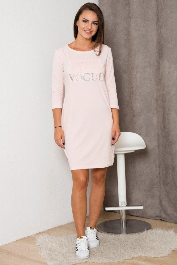 Dress with inscription Vogue powdered pink
