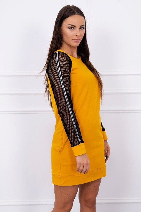 Dress with mesh sleeve mustard