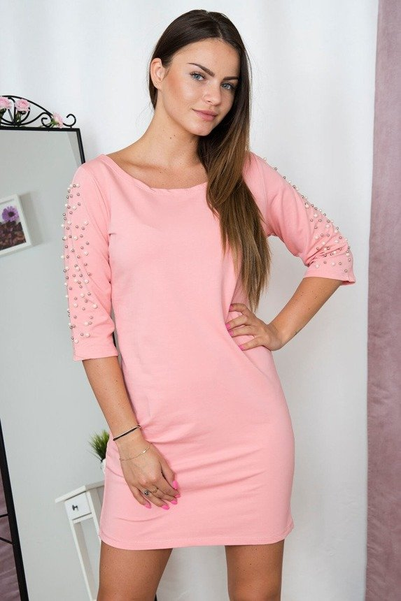 Dress with pearls on sleeves pink