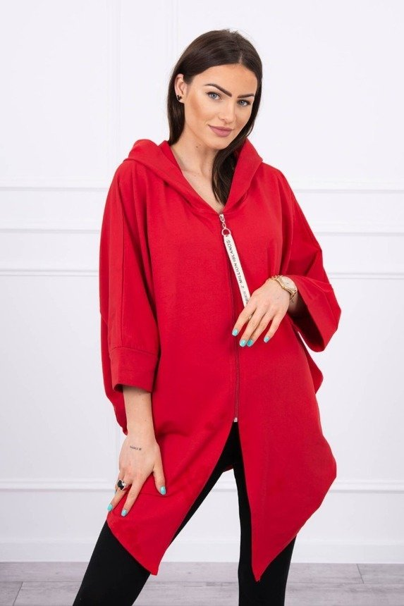 Hooded sweatshirt with batwing sleeve Oversize red