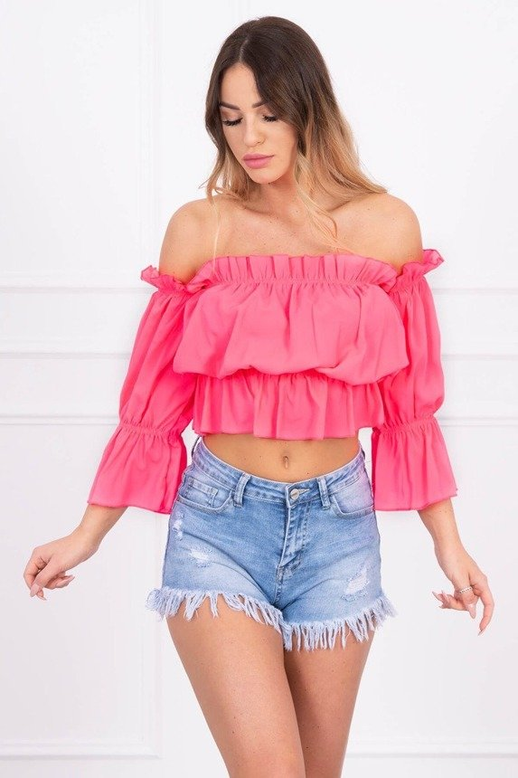 Off-the-shoulder blouse pink neon