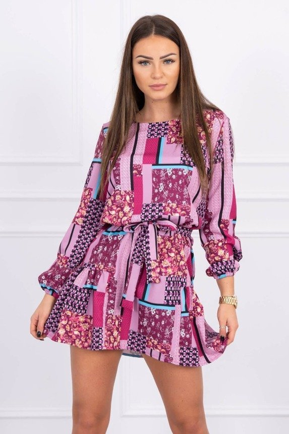 Patterned dress with tie fuchsia