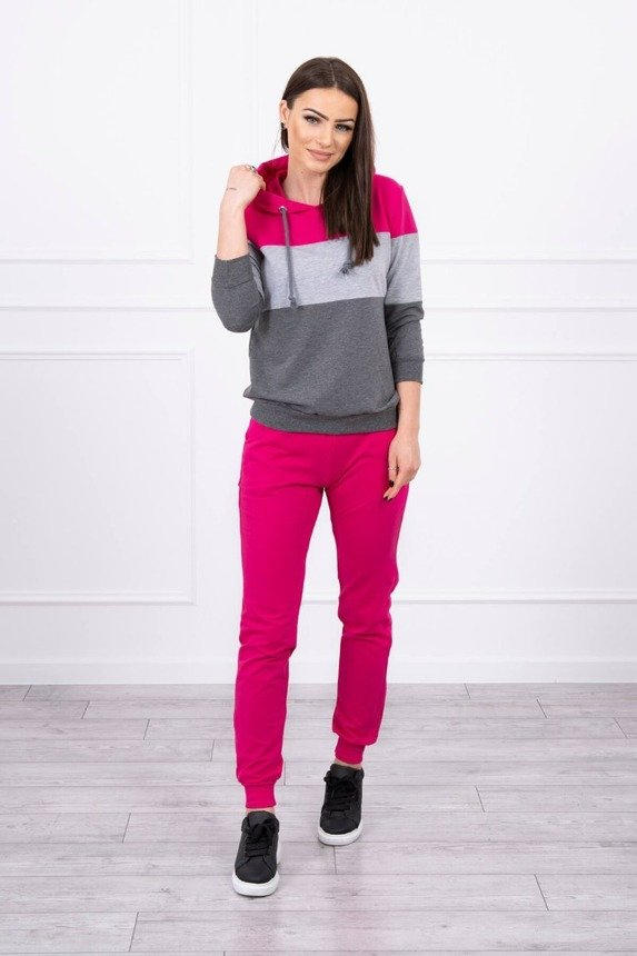 Set with colorful stripes fuchsia+gray