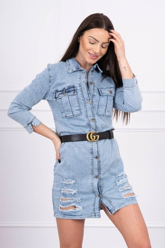 Stretch denim dress with abrasions S/M-L/XL