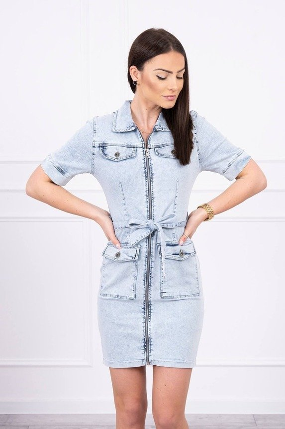 Stretched denim dress with a zip fastener S/M-L/XL