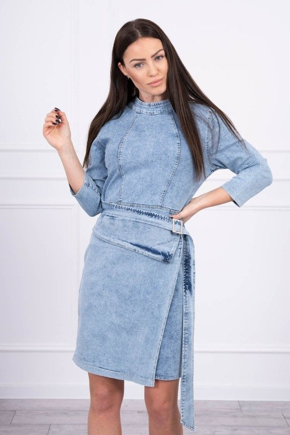 Stretched denim dress with an envelope bottom S/M-L/XL
