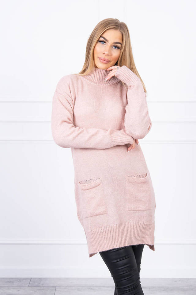 Sweater with stand-up collar powdered pink