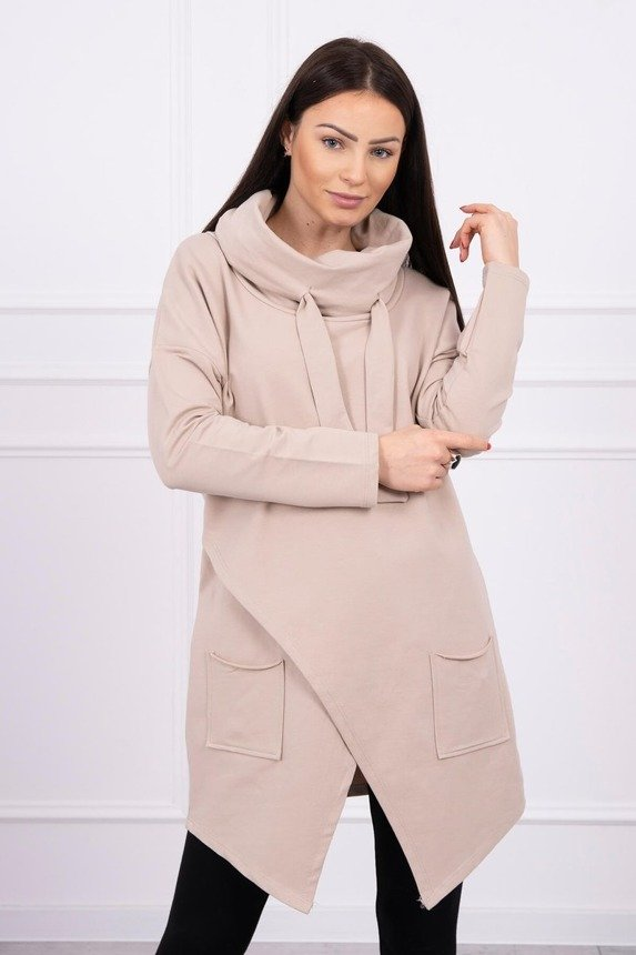 Tunic with envelope front light beige