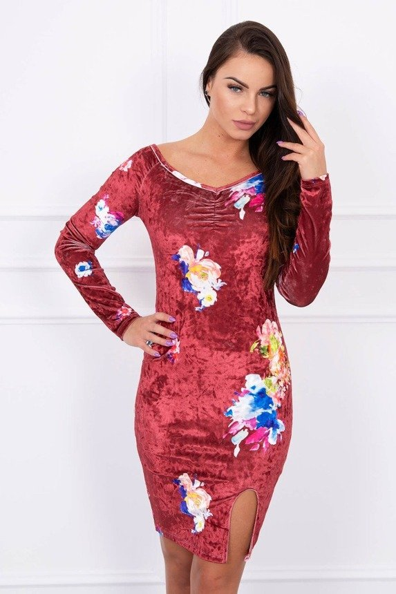 Velor dress with flowers burgundy