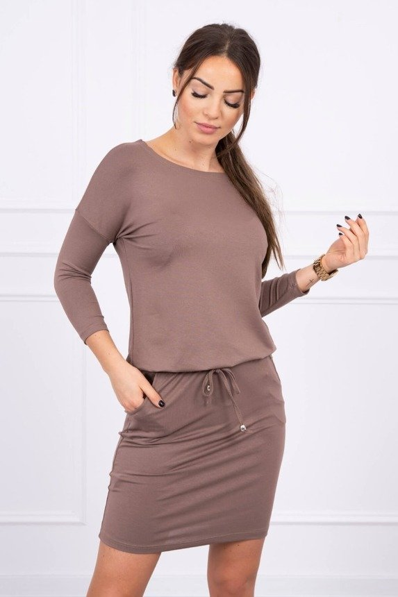 Viscose dress tied at the waist cappuccino