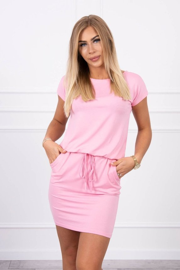 Viscose dress tied at the waist with short sleeves powdered pink