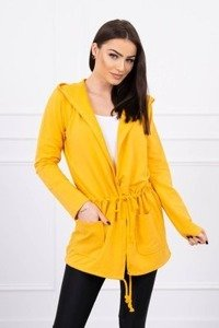 Cardigan tied at the waist mustard