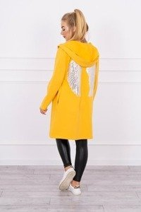 Cardigan with sequin wings mustard