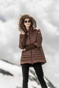 Down jacket with Raccoon 246 brown