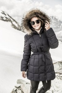 Down jacket with Raccoon 255 navy blue