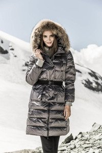 Down jacket with Raccoon 259 gray