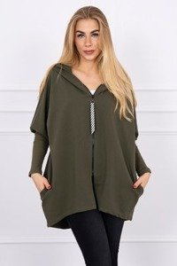 Hooded sweatshirt with zipper khaki