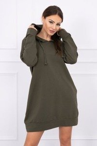 Plus size hooded dress khaki