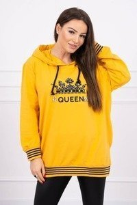 Sweatshirt with Queen inscription mustard