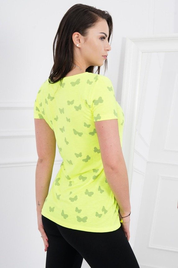 A blouse, butterflies, yellow neon