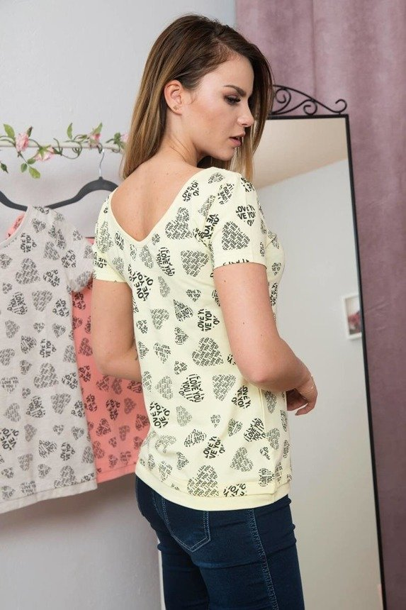 A blouse - hearts and love, yellow