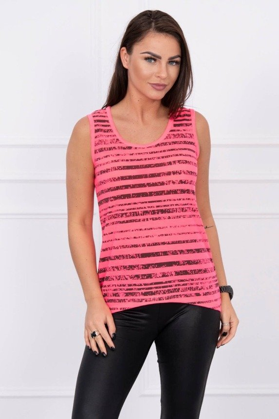A blouse, wiped stripes, pink neon