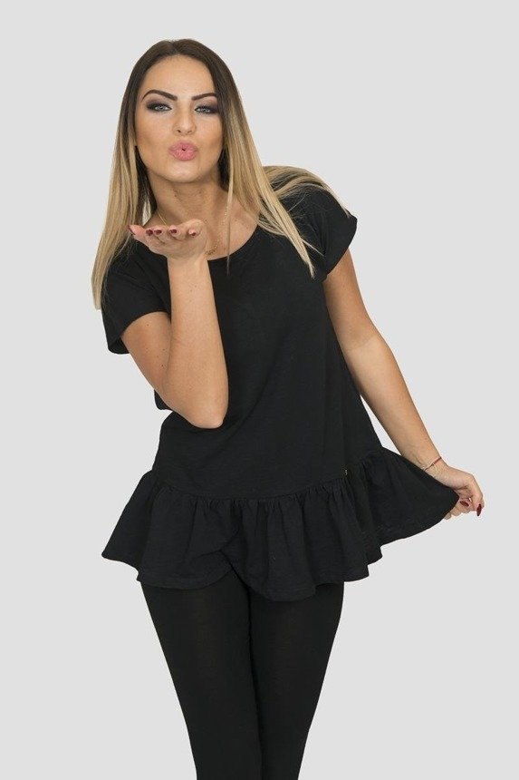 A blouse with a baskina, black