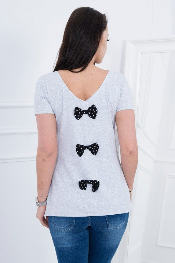 A blouse with a bow, light gray