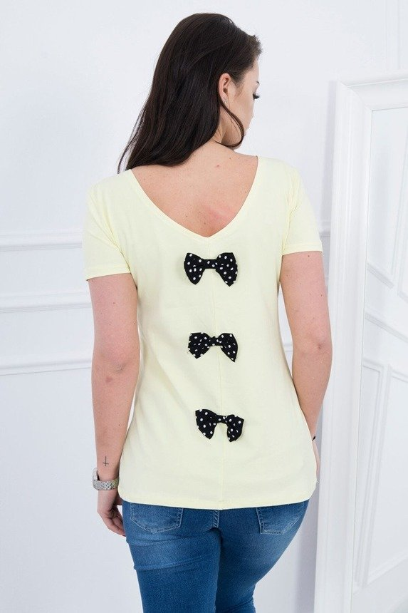 A blouse with a bow, yellow