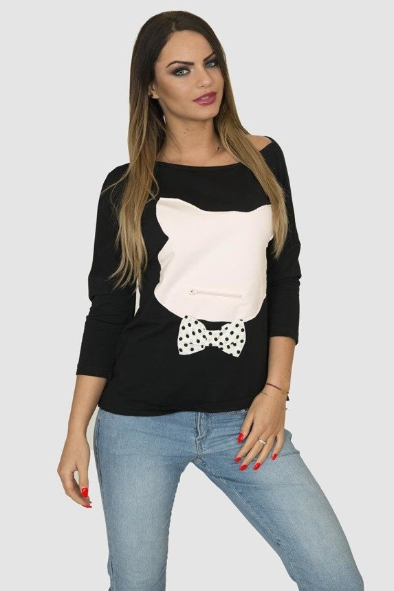 A blouse with a cat's head, black