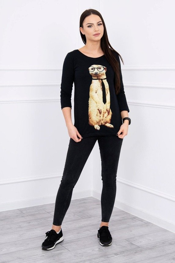 A blouse with a meerkat wearing a tie, black